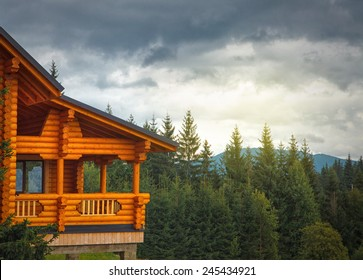 wooden cottage in the mountains  forest