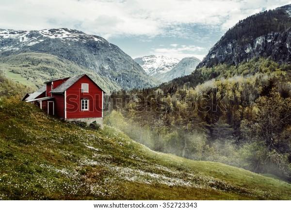 Деревянный коттедж в долине. Цветы. Каменные снежные горы. Стальхайм, Норвегия. Туман. Винтаж