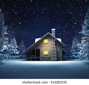 wooden cottage in winter snowy woods, blue seasonal landscape background 3D illustration