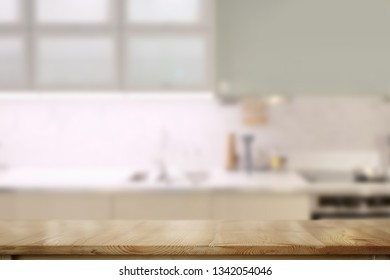 Wooden counter tops table with modern kitchen room background.