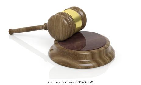 Wooden court hammer on white background