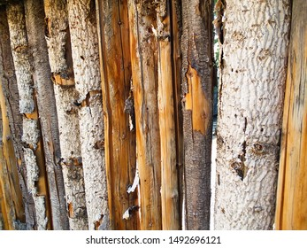 Wooden coyote fence in New Mexico