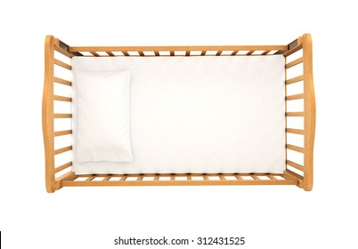 wooden cradle for baby with pillow isolated on white background, top view
