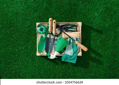 Wooden crate with gardening tools and utensils on a lush green meadow, landscaping and gardening concept
