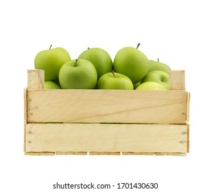 Wooden crate with green apples isolated on white background