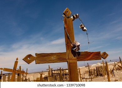 Wooden Cross at Abandoned Cemetery in the Atacama Desert, Northern Chile. From the era of nitrate mining