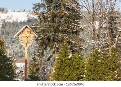 Wooden cross by the Sanctuary of Our Lady of Fatima in Zakopane. Zakopane, Lesser Poland, Poland.