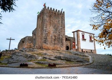 Wooden cross and the castle at Belmonte, Castelo Branco Municipality, Portugal. Belmonte is a historic village with a strong Jewish heritage and a medieval castle. Perfect tourist destination.