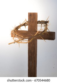 wooden cross with Crown of thorns