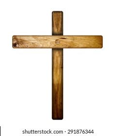 A wooden cross isolated on a white background background