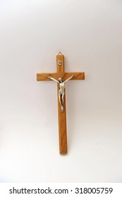 Wooden cross with Jesus Christ, isolated.