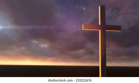 Wooden cross in night