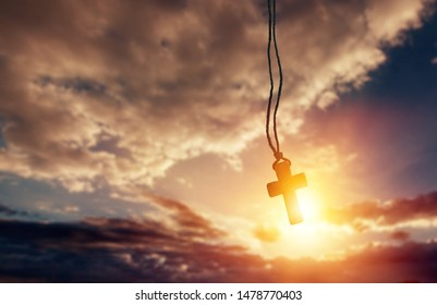 The wooden cross on with light, christian Jesus cross is the light of the world