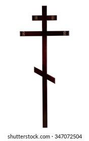 wooden cross onwhite background