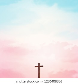 Wooden cross over abstract sky background. Christian concept