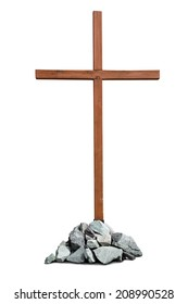 Wooden cross with pile of stones isolated on white background