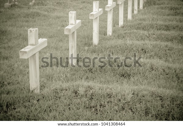 Wooden Crosses Cemetery Front Graves On Stock Photo Edit Now