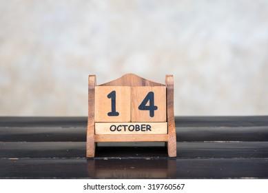 Wooden cube calendar for 14th October