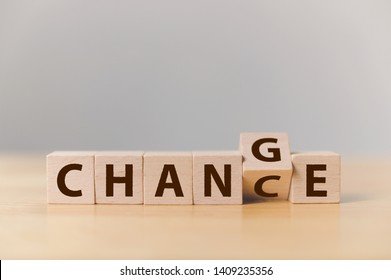 "Wooden cube flip with word ""change"" to ""chance"", Personal development and career growth or change yourself concept"