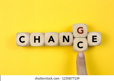 Wooden cube with word change to chance, Personal development and career growth or change yourself concept.