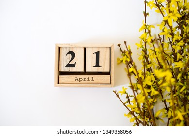 Wooden cubes calendar April 21 with forsythia on the white background. Spring easter background. Copy space