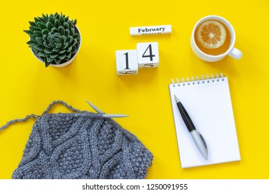 Wooden cubes calendar February 14th. Cup of tea with lemon, empty open notepad for text. Pot with succulent and fabric on knitting needles on yellow background. Top view Flat lay Mockup Concept.