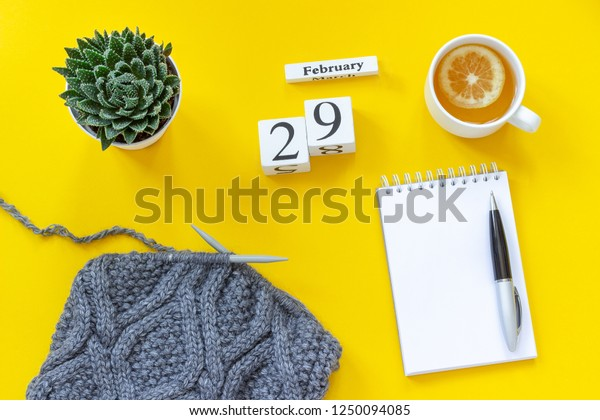 Wooden cubes calendar February 29th. Cup of tea with lemon, empty open notepad for text. Pot with succulent and fabric on knitting needles on yellow background. Top view Flat lay Mockup Concept.