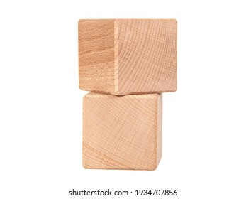 Wooden cubes for creative isolated on the white background