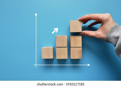 Wooden cubes in the form of a growing graph. Growing profit chart