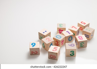 wooden cubes with numbers on a white background. Education and learning concept. 2017 school year.