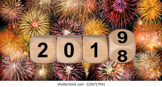 wooden cubes rotate from year 2018 to new year 2019
