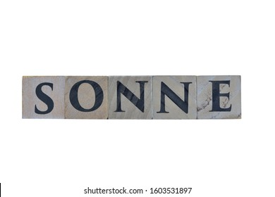 Wooden cubes showing the German word for Sun (German: Sonne) with white background, for designs and layouts