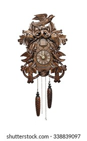 wooden cuckoo clock isolated on white