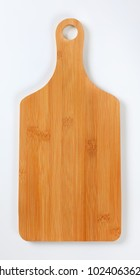 wooden cutting board with handle on white background
