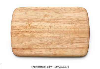wooden cutting board isolated on white background, top view