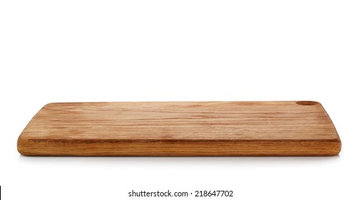 wooden cutting board isolated on a white background