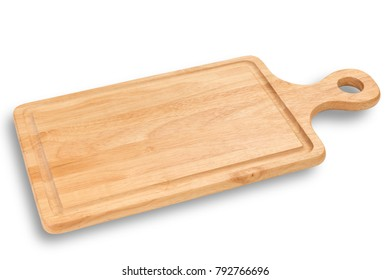 wooden cutting board isolated on white background with clipping path.