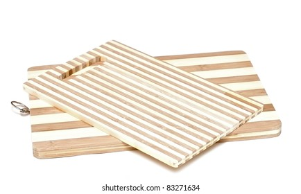 a wooden cutting board isolated on a white background