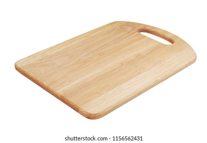 Wooden cutting board. Kitchen board isolated on white background