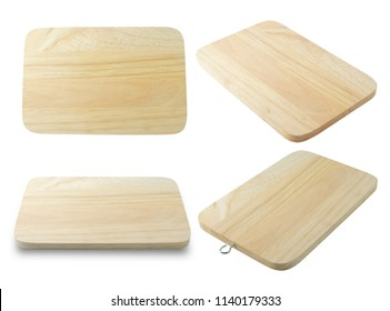 Wooden Cutting Board in Rectangular Forms Isolated on White Background, For Carrying Things.
