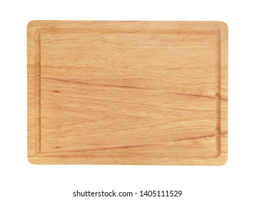 Wooden cutting board top view. Rustic chopping board isolated on white background