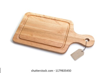 Wooden cutting boards for food preparation isolated on a white background with clipping path. Selective focus, Horizontal image