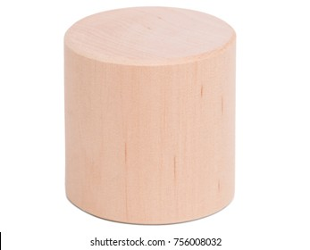 Wooden Cylinder close-up on white isolated background