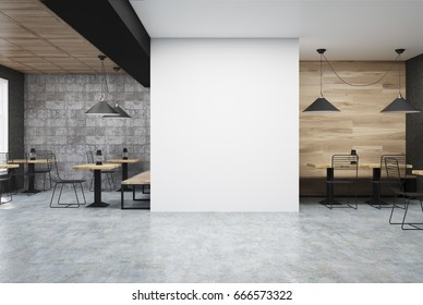 Wooden and dark gray wall cafe interior with a large white wall fragment in the center and old oil lamps on square wooden tables. 3d rendering mock up
