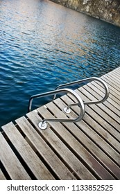 Wooden deck floating on a small lake
