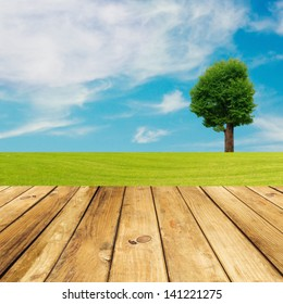 Wooden deck floor over green meadow with tree and blue sky