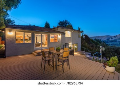 Wooden Deck outdoor patio at night with amazing hillside view an
