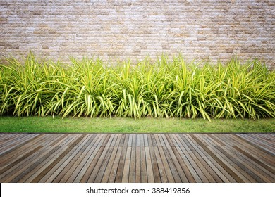 Wooden decking and plant with wall garden decorative