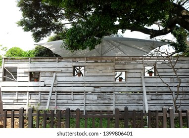 Wooden decorated wall. There are void for putting flowerpot and look out to see nature.
