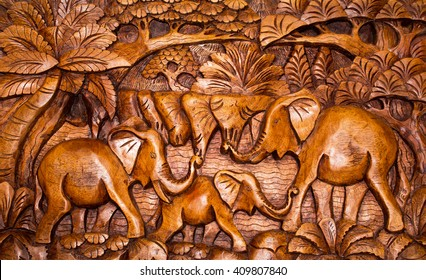 The wooden decoration in the style of Bali